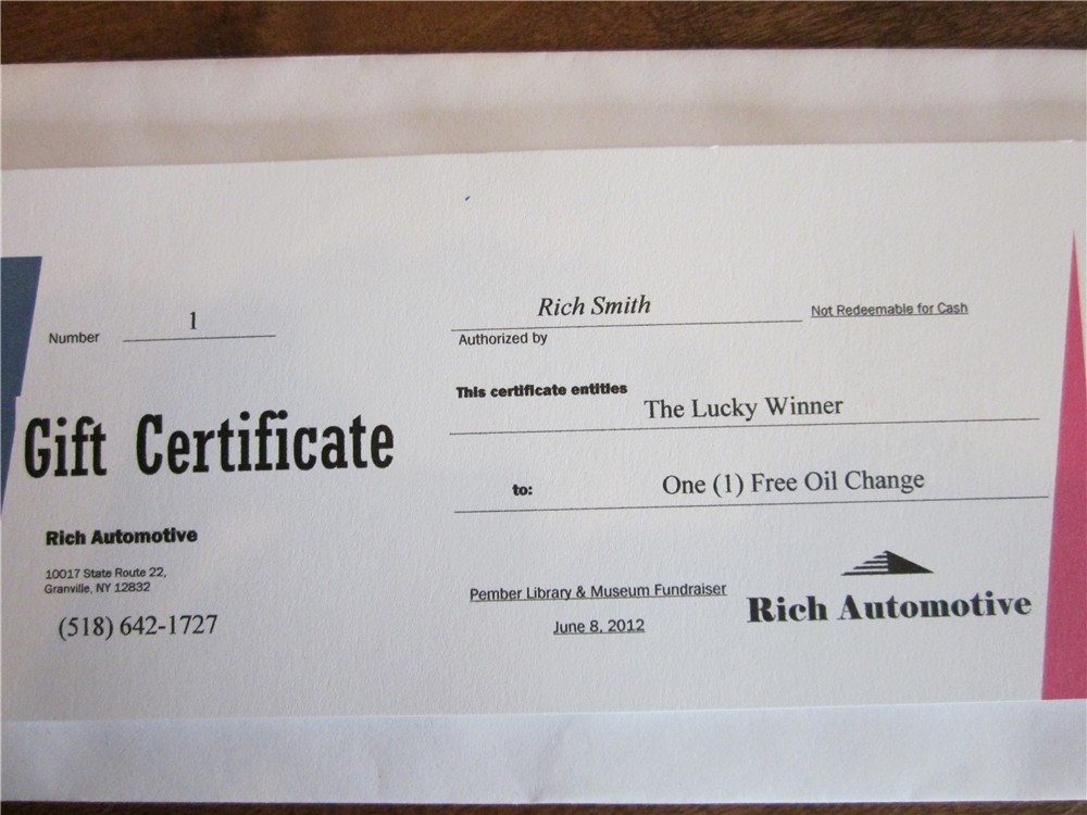2012 auction items gift certificates pember library