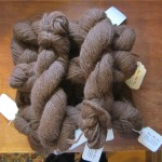 Item # 96 Bag of alpaca Yarn - 9 skeins of 2oz/86yds/3-ply sport - brown don ated by Stitchy Women, valued at $116, opening bid $ 60