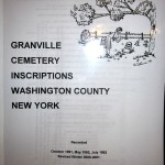 Item # 23 Granville Cemetery Inscriptions donated by Peggy Jenks, valued at $35, opening bid $20