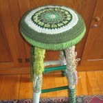 1) Yarn-bombed Bar Stool – 30″ high –Valued at $80, starting bid $40