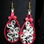17) quilled earrings handmade (red & white) valued at $10, starting bid $5