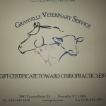 27)  $20 Gift Certificate for Large Animal Chiropractic care at Granville Vets (LA) , valued at $20, starting bid $10.00