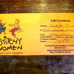 34) Gift Certificate from Stitchy Women in Poultney valued at $25, starting bid $15