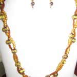 55) Handmade gold and bronze beaded necklace