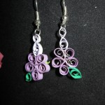 60) Handmade quilled earrings purple flowers valued at $10, starting bid $5