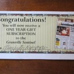61) 68) 69) one year gift subscription to the Granville Sentinel, priceless! starting bid, $15 each