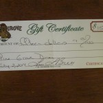 80) gift certificate to the Pine Grove Restaurant valued at $15, starting bid $7.50