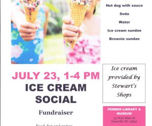 Ice Cream Social Fundraiser July 23,  1-4 PM