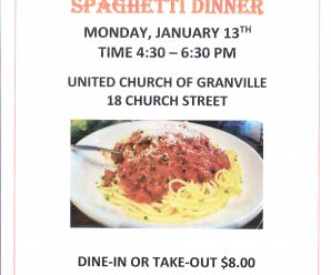 Friends of the Pember Library Spaghetti Dinner January 13, 4:30-6:30PM